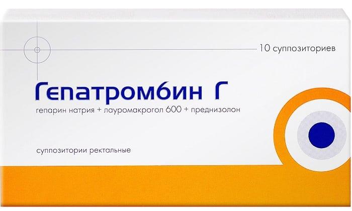 Суппозитории Гепатромбин Г включают в свой состав гепарин и преднизолон эти вещества способствуют рассасыванию тромбов, устранению острой воспалительной реакции и болей