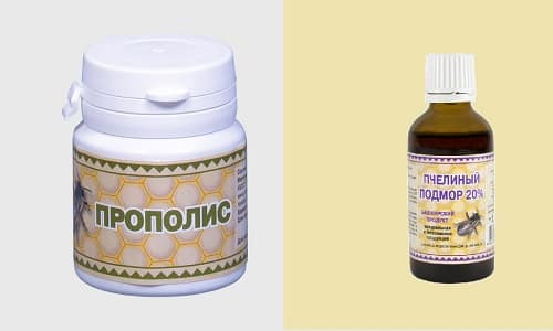 Подмор и прополис применяют с целью лечения аденомы предстательной железы, геморроя и варикоза
