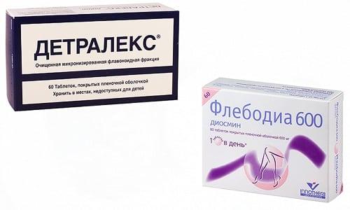 При заболеваниях, связанных с нарушением структуры сосудистых стенок, назначаются венотоники, например Детралекс или Флебодиа